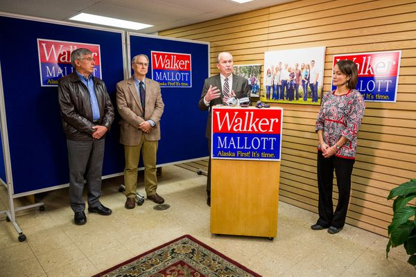 Byron Mallott, Rick Halford, Bill Walker and Ana Hoffman speak at a press conference Wednesday afternoon in Anchorage. Halford and Hoffman will co-chair a transition team for Walker and Mallott, who are currently the leaders in the race for Alaska governor, in which a vote tally has not yet been finalized.