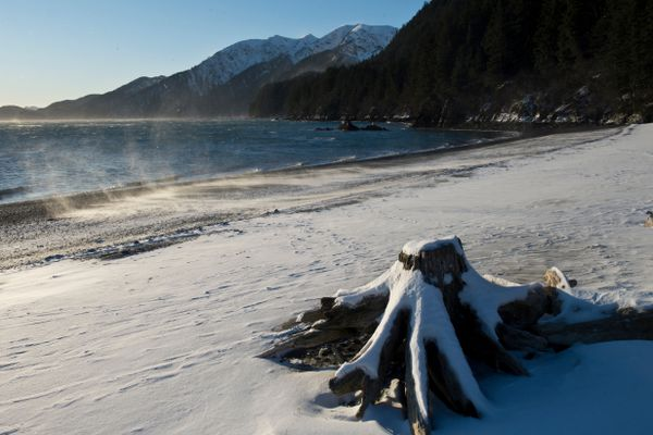 Snow blows on the beach at Tonsina Point south of Seward on January 24, 2018. (Marc Lester / ADN)