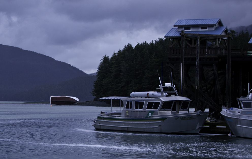 The fishing vessel Kaybee lies on its side on a sandbar outside the Cordova harbor Wednesdaymorning after wind estimated at80 mph hit the Prince William Sound city on Tuesday,ripping the 53-foot purse seiner from its moorings. (Photo by Bob Martinson)