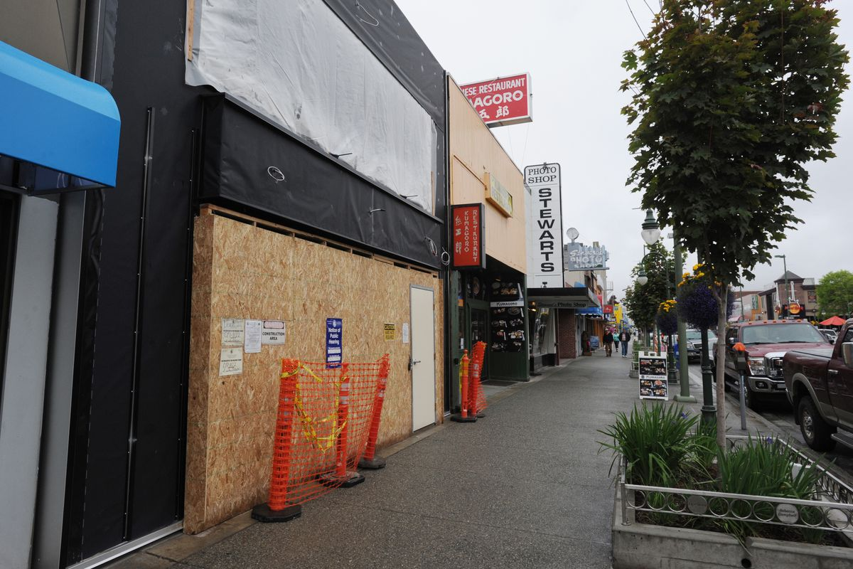 Great Northern Cannabis is under construction at 541 W. Fourth Ave. in downtown Anchorage on Monday. (Bill Roth / Alaska Dispatch News)