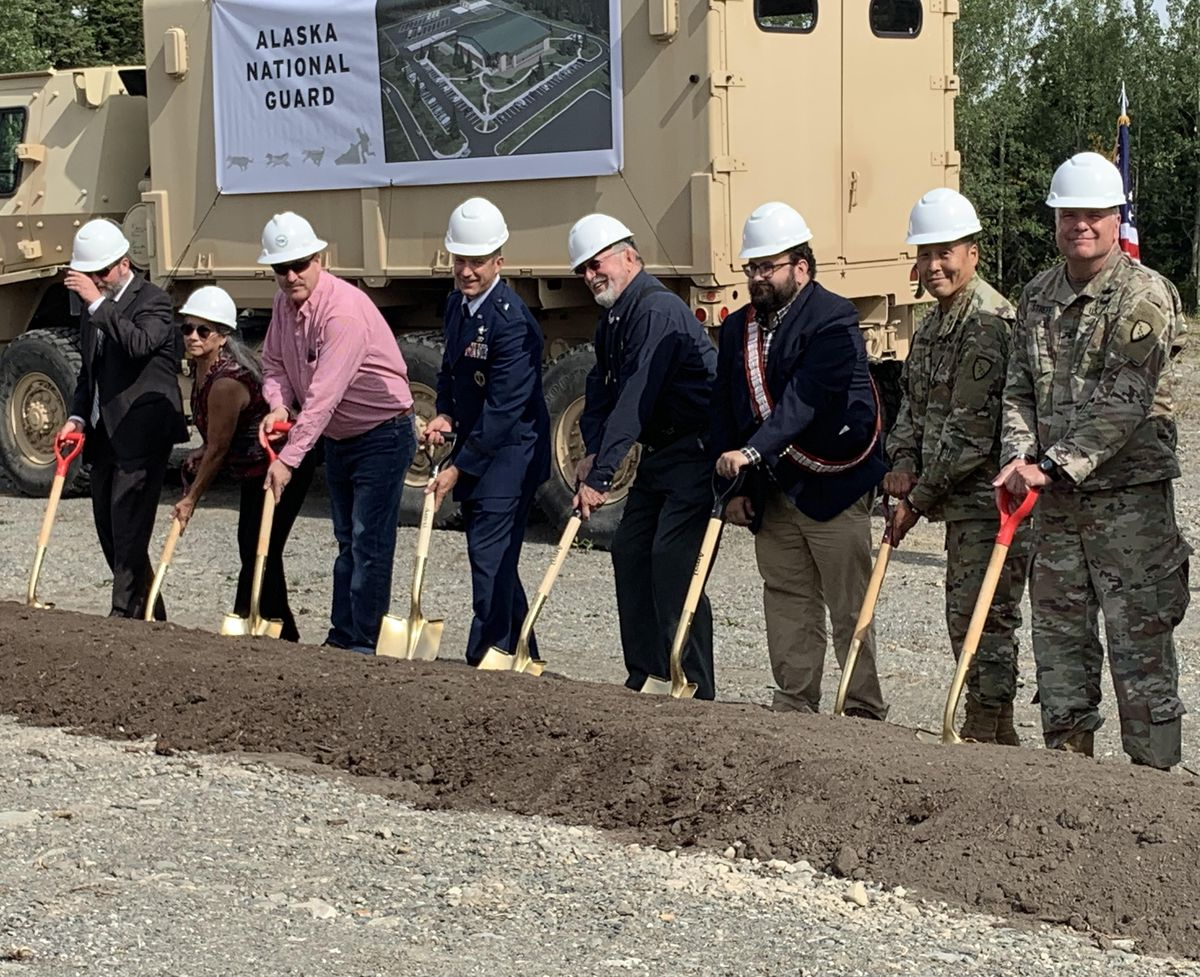 U.S. Rep. Don Young, Brig. Gen. Torrence Saxe and other guests break ground for a new Alaska National Guard administrative and logistics building on Thursday Aug. 15, 2019 at Joint Base Elmendorf-Richardson. (Jeff Parrott / ADN)