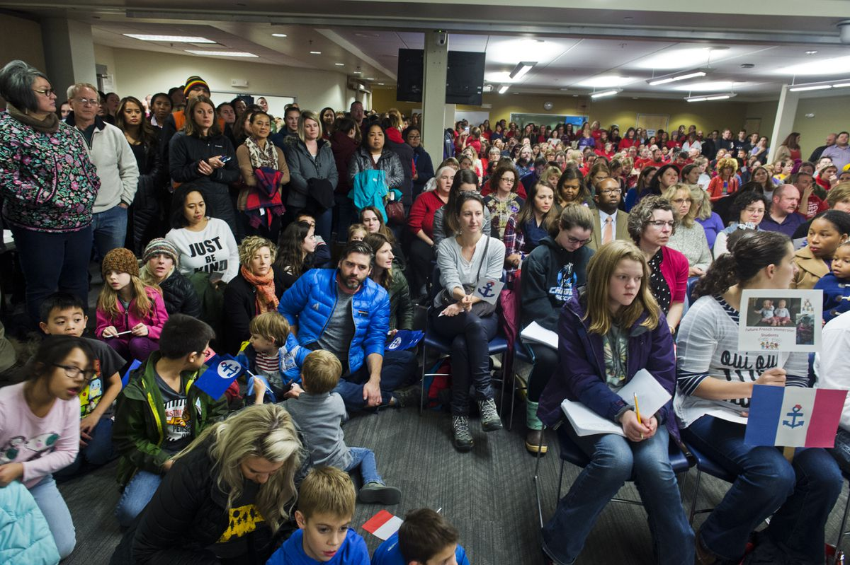 Hundreds of Anchorage educators packed an Anchorage School Board meeting November 5, 2018, the evening before contract negotiations were scheduled to resume between the school district and teachers union. (Marc Lester / ADN)