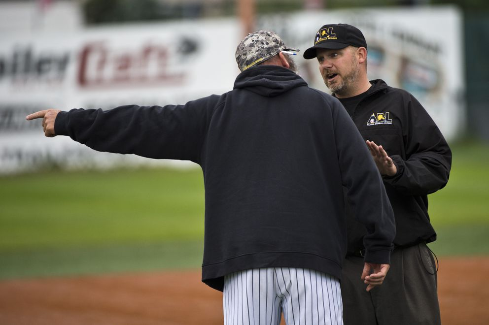 Anchorage Bucs head coach Ken Hokuf argues a call in a game against the Anchorage Glacier Pilots last summer. (Marc Lester / ADN archives)