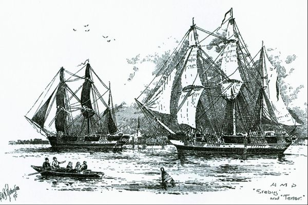 This engraving, circa 1845, depicts Erebus and Terror, two of the three ships in the ill-fated Franklin Expedition in search of the Northwest Passage.