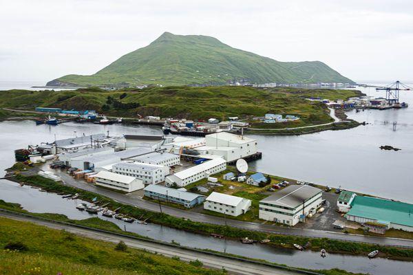 Dutch Harbor's Ballyhoo Mountain, on Amaknak Island, as seen from Unalaska on Aug. 31, 2012. (Loren Holmes / ADN)