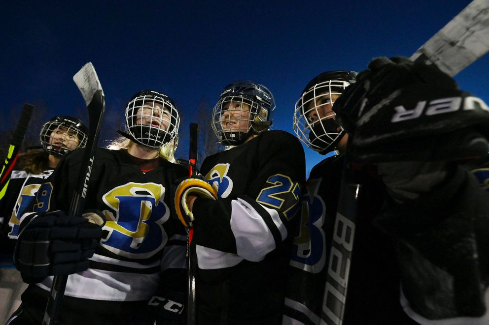 South/Bartlett defeated Dimond/West 2-0 in the first round of the girls high school hockey championships on Monday, Feb. 1, 2021. (Bill Roth / ADN)
