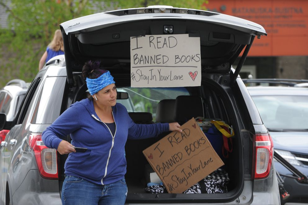 Sabrena Combs, a Palmer City Council member, attended the rally outside the Matanuska-Susitna School Board meeting on Wednesday, May 20, 2020. Combs said, 'Our school board shouldn't be making curriculum decisions. They should follow public process. ' (Bill Roth / ADN)