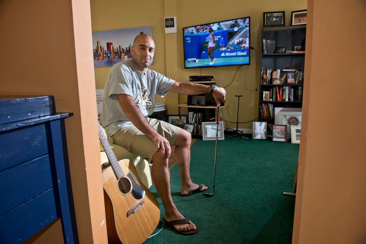 Scott Gomez lives part of the year in the Airport Heights home where he was raised.  (Marc Lester / Alaska Dispatch News)