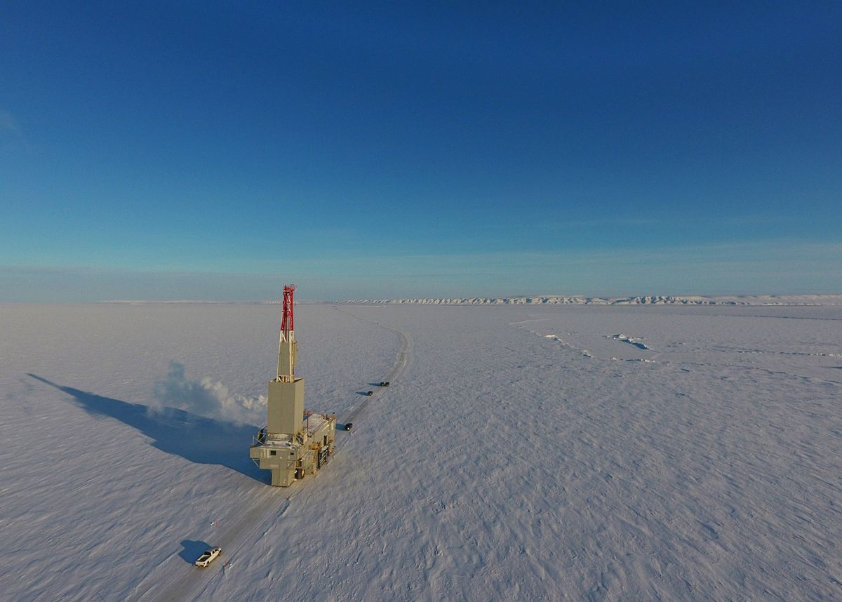 The Nordic-Calista #3 drilling rig travels west along an ice road to Accumulate Energy Alaska's Charlie #1 well location, part of AEA's Icewine project, on Feb. 23. (Photo courtesy Conner Cucullu/Cruz Construction)
