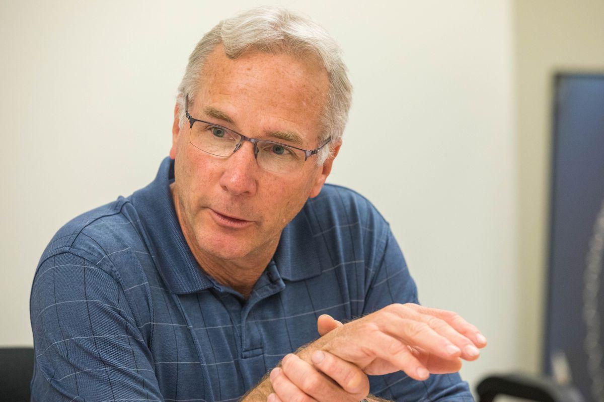 ConocoPhillips Alaska vice president Scott Jepsen speaks to the Anchorage Daily News editorial board Thursday, Aug. 9, 2018. (Loren Holmes / ADN)