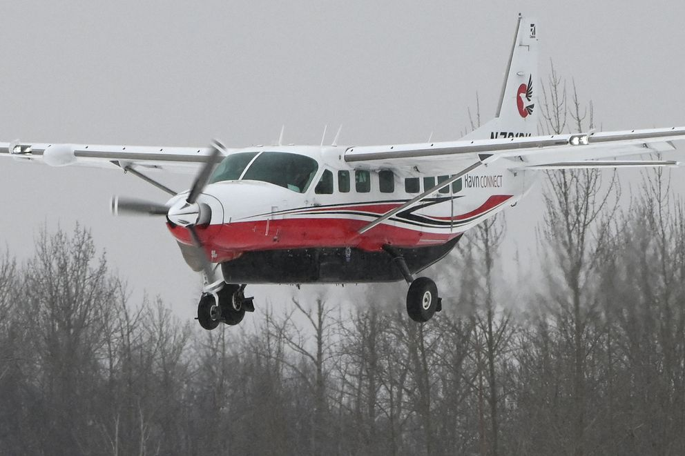 A Ravn Connect Cessna 208B Grand Caravan en route from Bethel lands at Palmer Municipal Airport on Thursday, April 2, 2020. (Bill Roth / ADN)