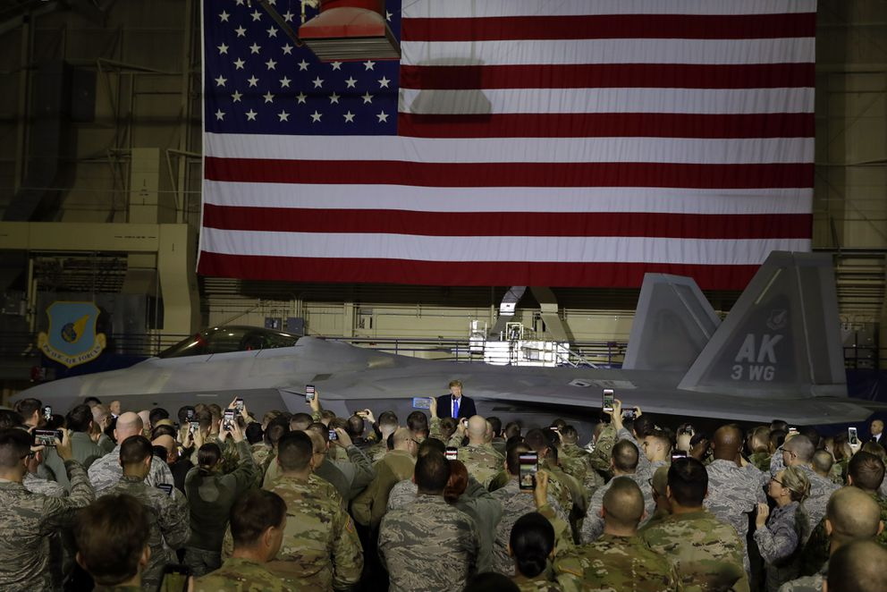 President Donald Trump speaks to service members at Joint Base Elmendorf-Richardson, Thursday, Feb. 28, 2019, in Anchorage, Alaska., during a refueling stop as he returns from Hanoi. (AP Photo/ Evan Vucci)