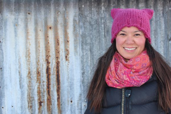 Laureli Ivanoff will march in Unalakleet, Jan. 21, 2017 with her pink hat. (Sidney Kinneen)