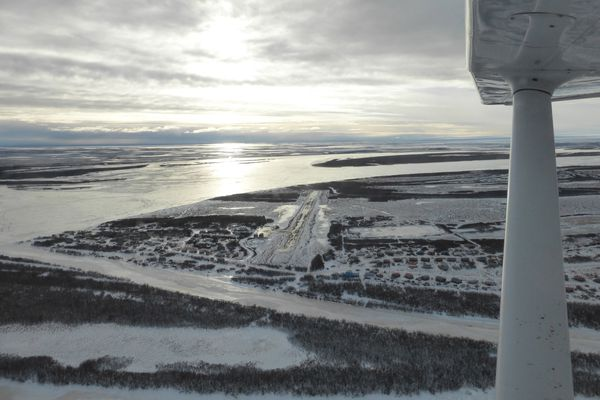 A view of the Napakiak runway from the air. The airport is situated on the shores of the Kuskokwim River. (Scott McMurren)