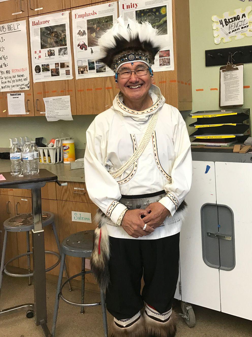 Chuna McIntyre, a Yup'ik cultural ambassador, is seen on Saturday, April 1, 2017, during his workshop on Yup'ik regalia, at Cama-i Dance Festival in Bethel, Alaska. (Lisa Demer / Alaska Dispatch News)