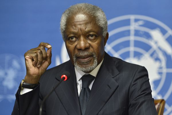 In this Thursday Aug. 2, 2012 file photo Kofi Annan speaks during a press briefing, at the European headquarters of the United Nations, UN, in Geneva, Switzerland. Annan, one of the world's most celebrated diplomats and a charismatic symbol of the United Nations who rose through its ranks to become the first black African secretary-general, has died. He was 80. (Martial Trezzini, Keystone via AP, File)
