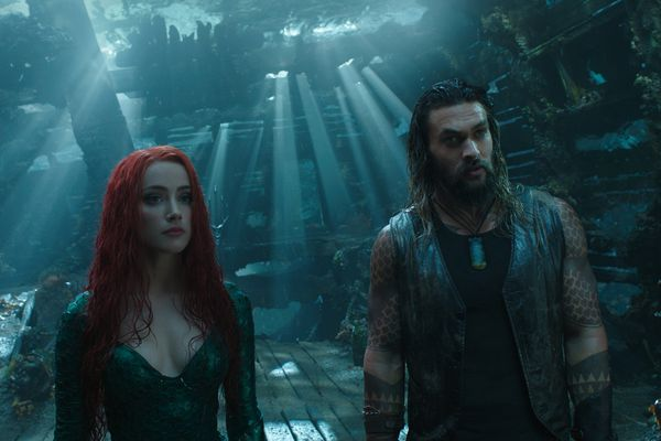 Amber Heard as Mera and Jason Momoa as Aquaman in Warner Bros. Pictures' action adventure