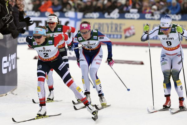 From left, Maiken Caspersen Falla of Norway, Ingvild Flugstad Ostberg of Norway, Sadie Bjornsen of USA and Hanna Falk of Sweden in action during Ladies' Cross Country Skiing Sprint Quarter Final Heat 1 at at the FIS Nordic Skiing World Cup in Ruka, Finland, Saturday, Nov. 24, 2018. (Markku Ulander/Lehtikuva via AP)