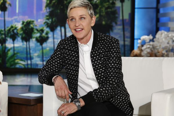 FILE - Ellen DeGeneres appears during a taping of the