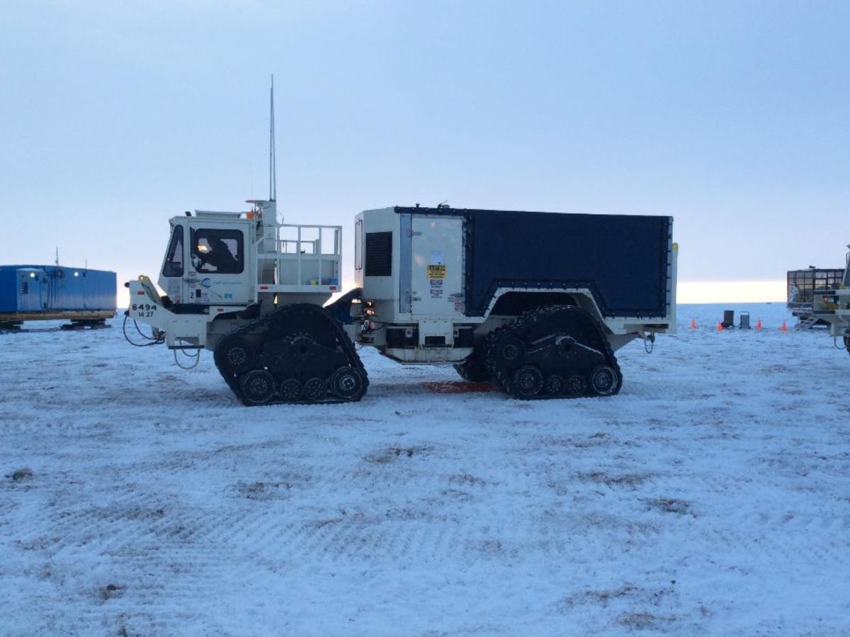 This is an example of the kind of rubber-tracked equipment SAExploration plans to use for its seismic work over two consecutive winter seasons in the Arctic National Wildlife Refuge. (SAExploration planning document via Bureau of Land Management)
