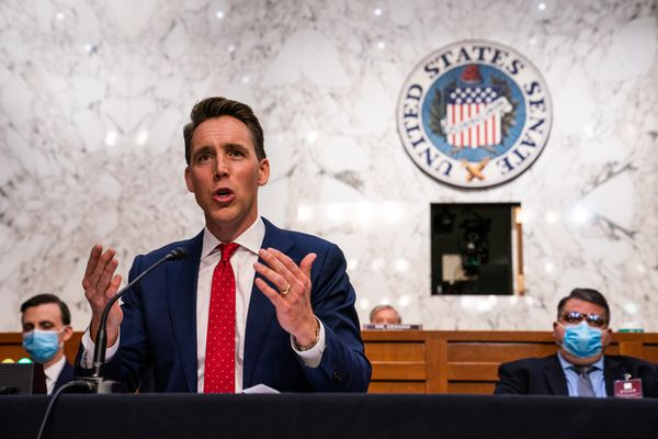 Sen. Josh Hawley, R-Mo., is pictured during the Senate Judiciary Committee hearing of Supreme Court nominee Amy Coney Barrett on Wednesday. MUST CREDIT: Washington Post photo by Demetrius Freeman