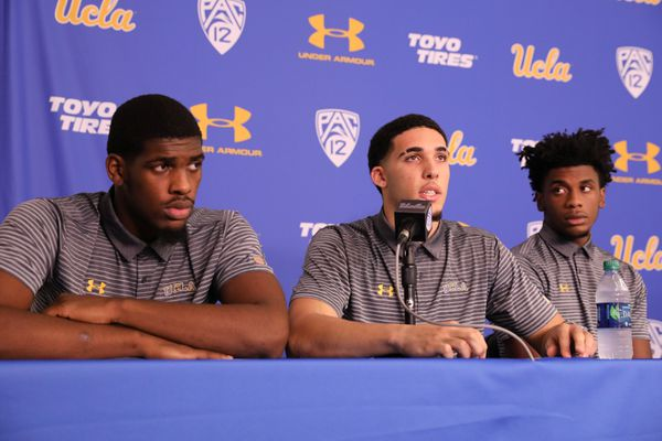 UCLA basketball players Cody Riley, LiAngelo Ball and Jalen Hill speak at a press conference at UCLA after flying back from China, where they were detained on suspicion of shoplifting, in Los Angeles, California U.S. November 15, 2017. REUTERS/Lucy Nicholson