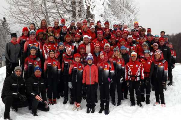 Members of the Alaska Winter Stars pose for their annual Christmas photo in 2019. The Anchorage club was named the cross-country ski club of the year by U.S. Ski & Snowboard. (Photo by Jan Buron)