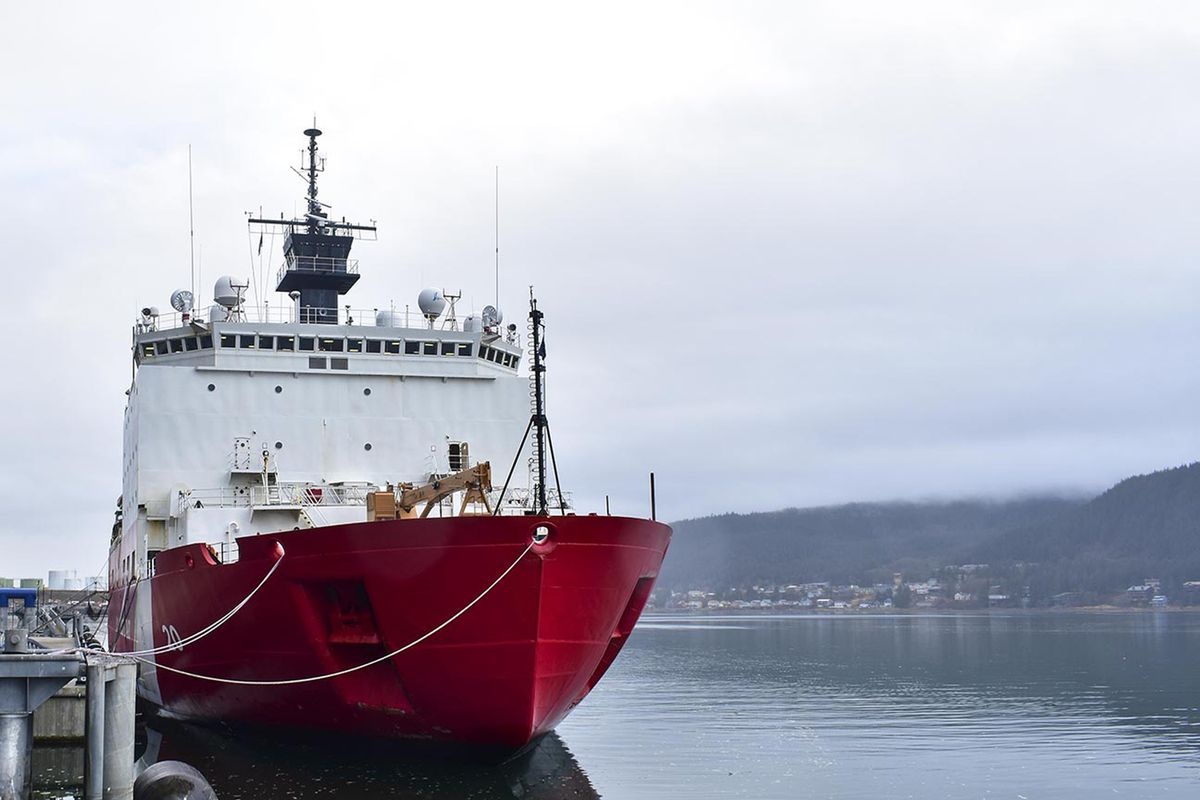 In this photo taken Sunday, Oct. 27, 2019, the USCGC Healy, lies moored to the pier in Juneau, Alaska. The USCGC Healy visited Juneau, mooring downtown on its way home to its homeport in Seattle. The Coast Guard's only medium icebreaker, the Healy has been conducting scientific research in the Arctic with researchers from Woods Hole Oceanographic Institute and the University of Washington. (Peter Segall/Juneau Empire via AP)