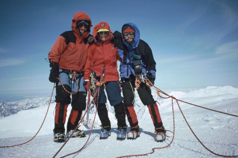 Dave Hart, left, Dolly Lefever and Wayne Todd on Mount Marcus Baker, the highest peak in the Chugach Mountains at 13,176 feet, in 1995. (Photo by Wayne Todd)