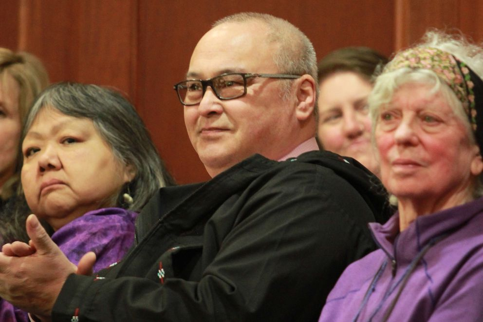 North Slope Borough Mayor Harry Brower in the gallery of the Alaska House on Tuesday, Feb. 22, 2017, in Juneau, with his wife, Flora, to his left. (Nathaniel Herz / Alaska Dispatch News)