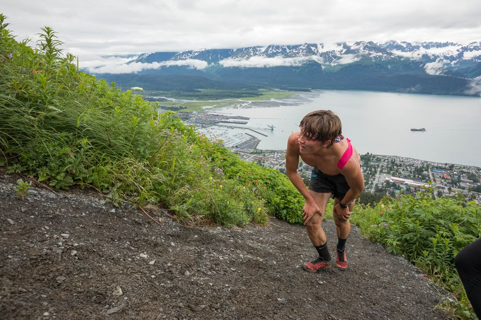 Luke Jager nears the top of his race. Jager is the winner of the 2017 Mount Marathon junior's race in Seward on Tuesday. (Loren Holmes / Alaska Dispatch News)