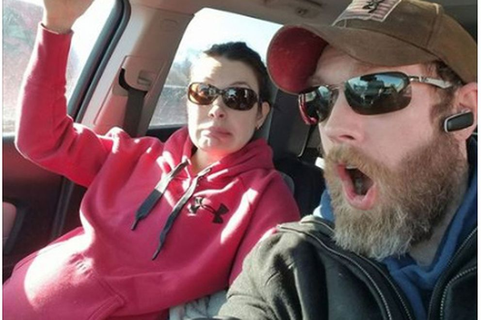 Ron Bell posted this selfie with wife Tonya to Facebook Thursday when they were trying to get to the hospital. Tonya's contractions were getting closer together and stronger.