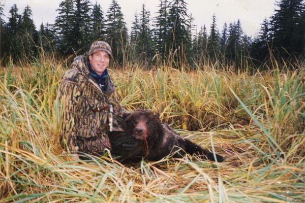 US Senate candidate Al Gross with a bear he killed in self-defense on Oct. 19, 1995 in Sweetheart Flats, south of Juneau.(Photo provided by Al Gross campaign)
