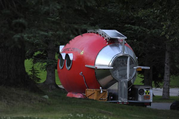 Bill Guernsey's Atomic Camper is parked alongside his house in an East Anchorage neighborhood.