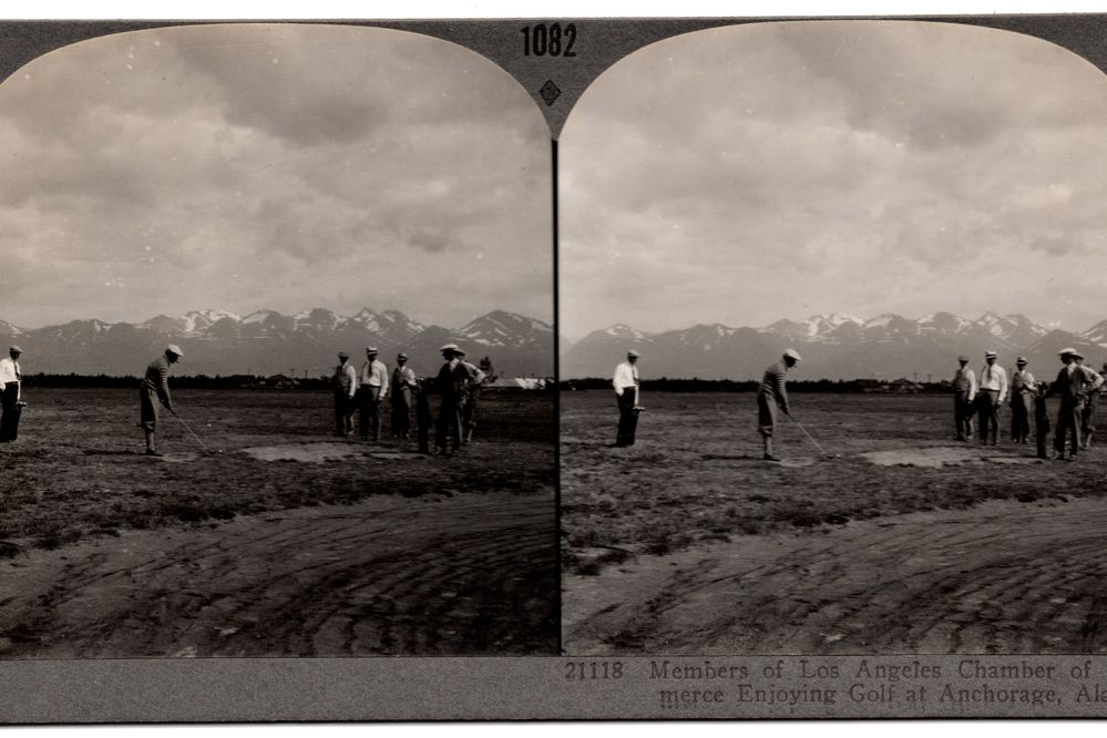 """Circa 1930s Keystone View Company, stereoview card #1082, """"A Game of Golf at Anchorage, Alaska."""" (From the collection of David Reamer)"""