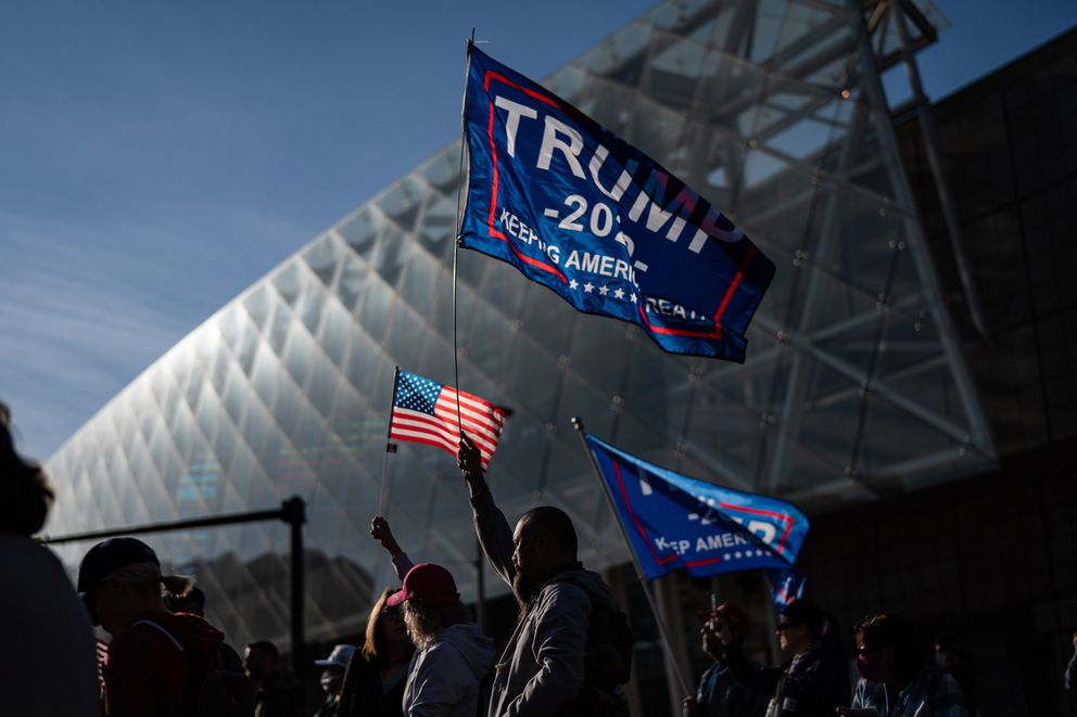 Donald Trump supporters protest the presidential vote count outside the TCF Center in Detroit on Nov. 6. Despite no evidence, the president and his allies are alleging that large, majority Black cities like Detroit, Atlanta, Philadelphia and Milwaukee are hotbeds of voter fraud. Washington Post photo by Salwan Georges