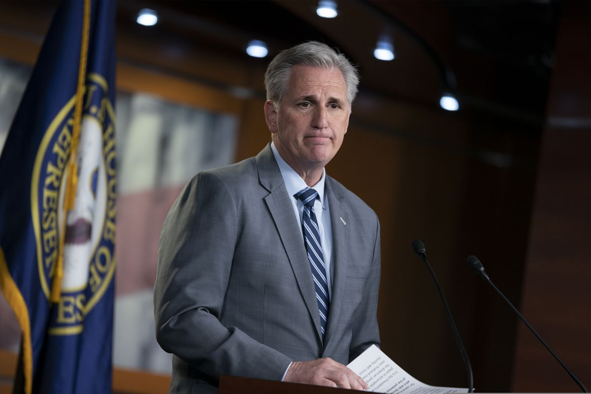House Minority Leader Kevin McCarthy, R-Calif., speaks to reporters at a news conference on Capitol Hill in Washington, Thursday, April 4, 2019. H (AP Photo/J. Scott Applewhite)