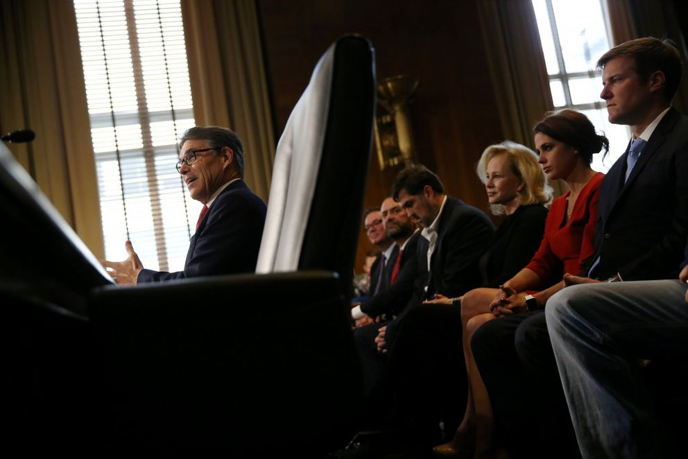 Former Texas Gov. Rick Perry testifies before a Senate Energy and Natural Resources Committee hearing on his nomination to be Energy secretary at Capitol Hill in Washington, January 19, 2017. REUTERS/Carlos Barria