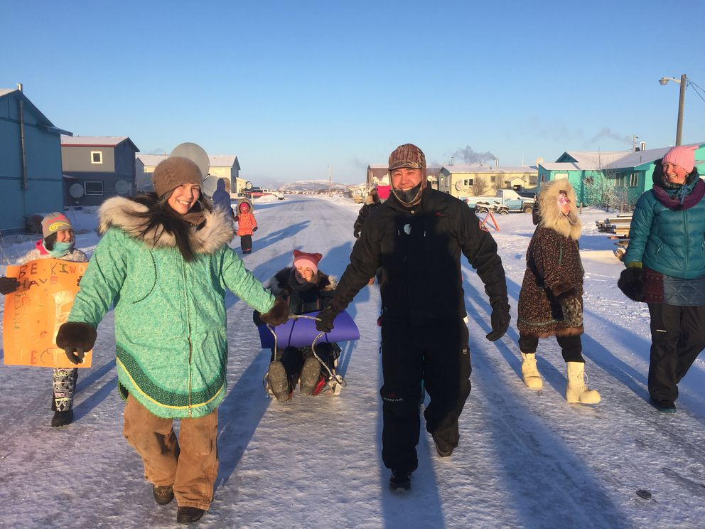 The Women's March in Unalakleet brought out 38 people on the clear, cold day on the coast. (Heather Fernstrom)