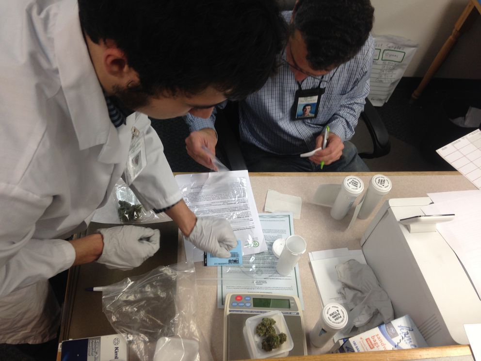 CannTest CEO Mark Malagodi, right, and analyst Connor Hellings weigh cannabis samples Oct. 24, 2016. (Laurel Andrews/ADN)