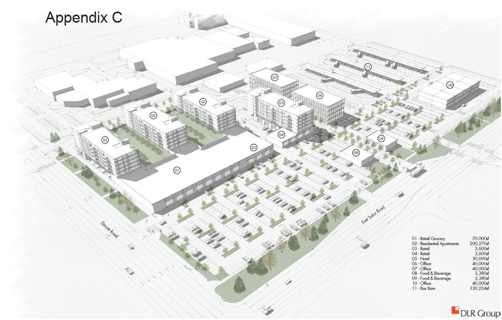 An Anchorage development proposal would include a apartments, offices, grocery store and hotel on East Tudor Road and Elmore Road. (DLR Group)