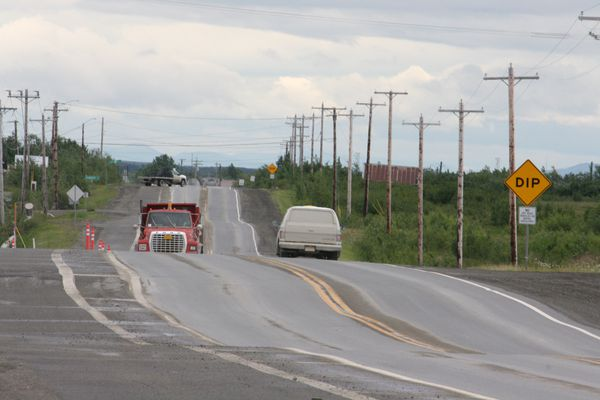 Chief Eddie Hoffman Highway in Bethel, Alaska, looks more like ribbon candy on June 28, 2017. A state road project smoothed out some of the dips over the summer. (Lisa Demer / ADN)