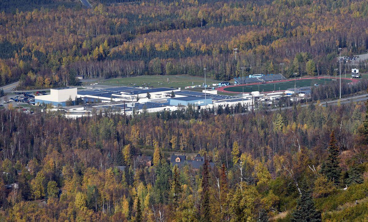 The Chugiak High School campus as seen from Mount Baldy in Eagle River. (Matt Tunseth / Chugiak-Eagle River Star)