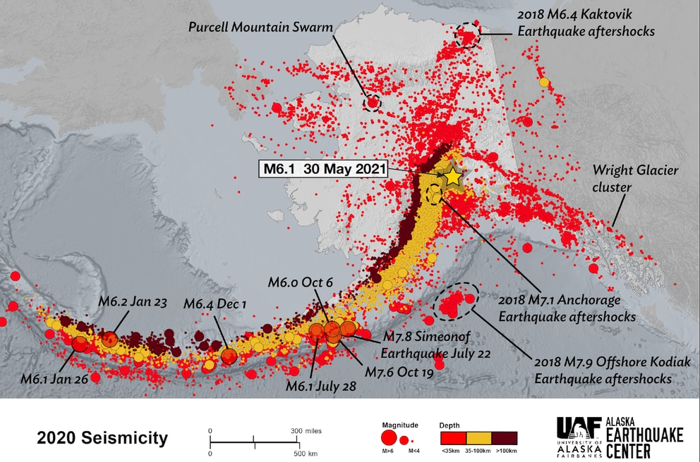 An Alaska Earthquake Center map of all the earthquakes that happened in the year 2020, including the epicenter of a magnitude 6.1 earthquake that happened May 30, 2021.