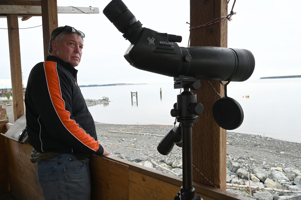 Dennis Moore is one of the observers stationed around the Port of Alaska and the Knik Arm. Photographed June 18, 2021. (Anne Raup / ADN)