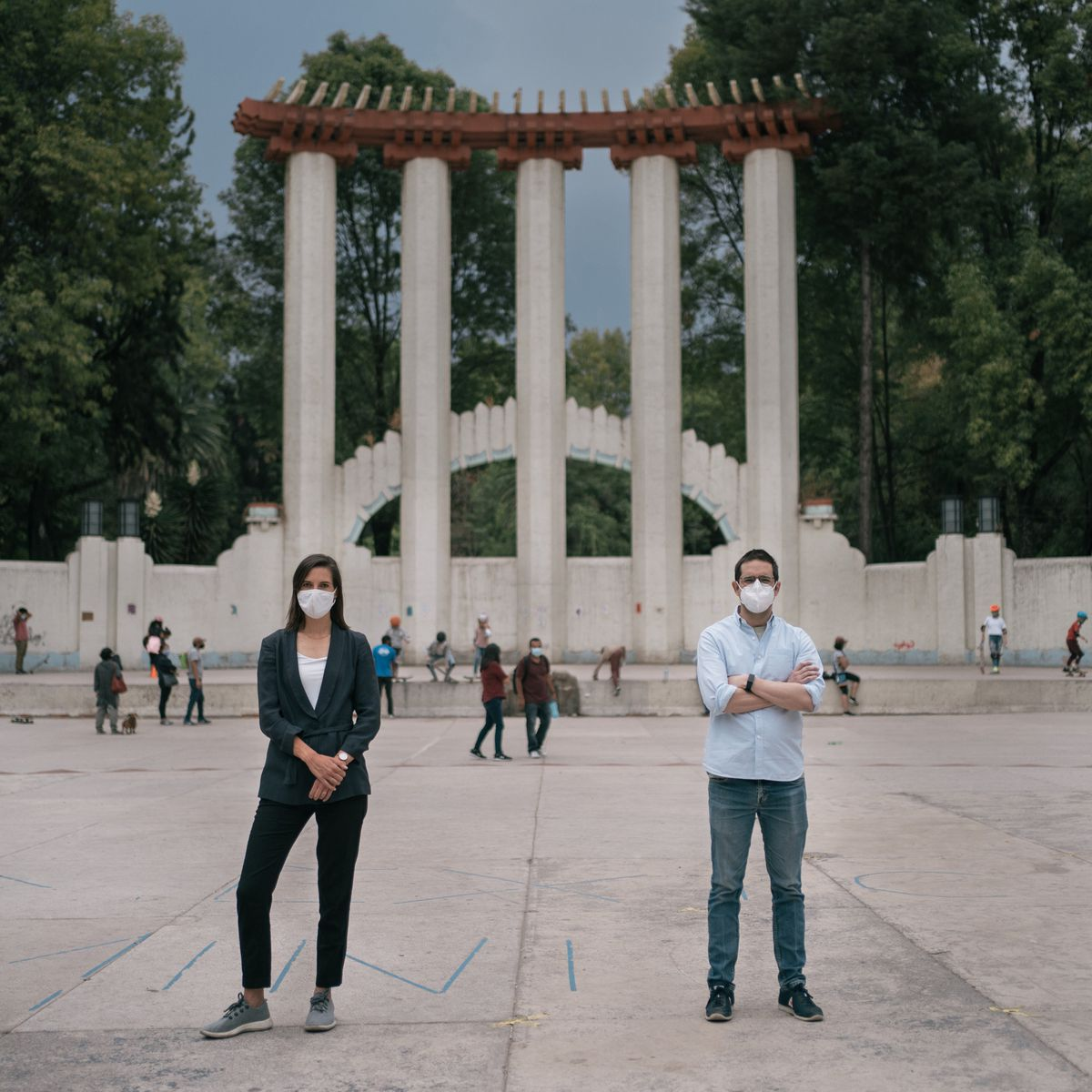 Economic consultant Laurianne Despeghel and software developer Mario Romero Zavala pose for a portrait at a park in Mexico City's Condesa neighborhood. (Photo for The Washington Post by Luis Antonio Rojas)