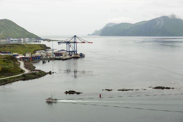 A fishing boat returns to harbor in Unalaska, Alaska on August 31, 2012. The city's port of Dutch Harbor is the largest fisheries port in the U.S., and is positioned to become a major trans-shipment port as Arctic Ocean shipping routes open up. (Loren Holmes / ADN file photo)
