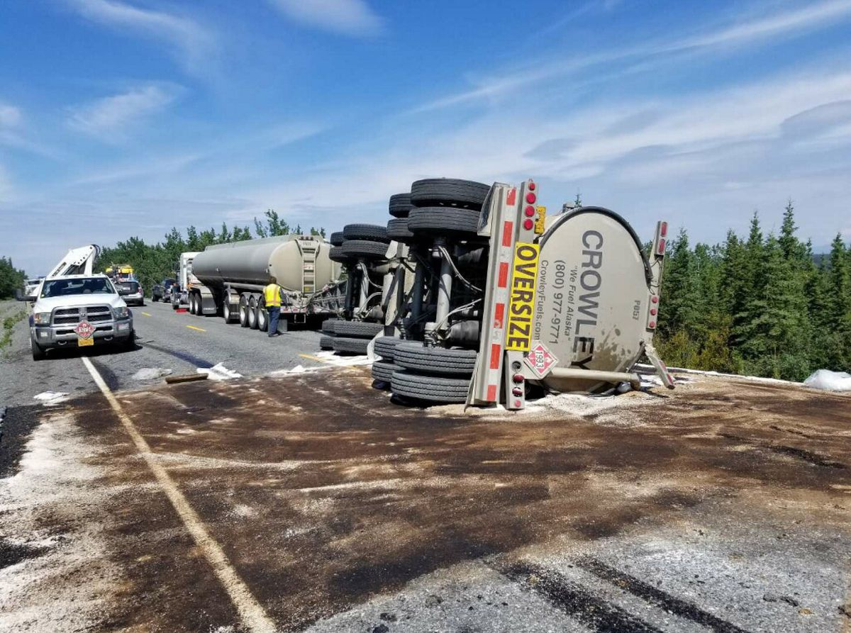 A Crowley tanker trailer rolled and spilled 5,000 gallons of heating oil at Mile 105 of the Richardson Highway on Tuesday, July 2, 2019. (Alaska Department of Transportation)