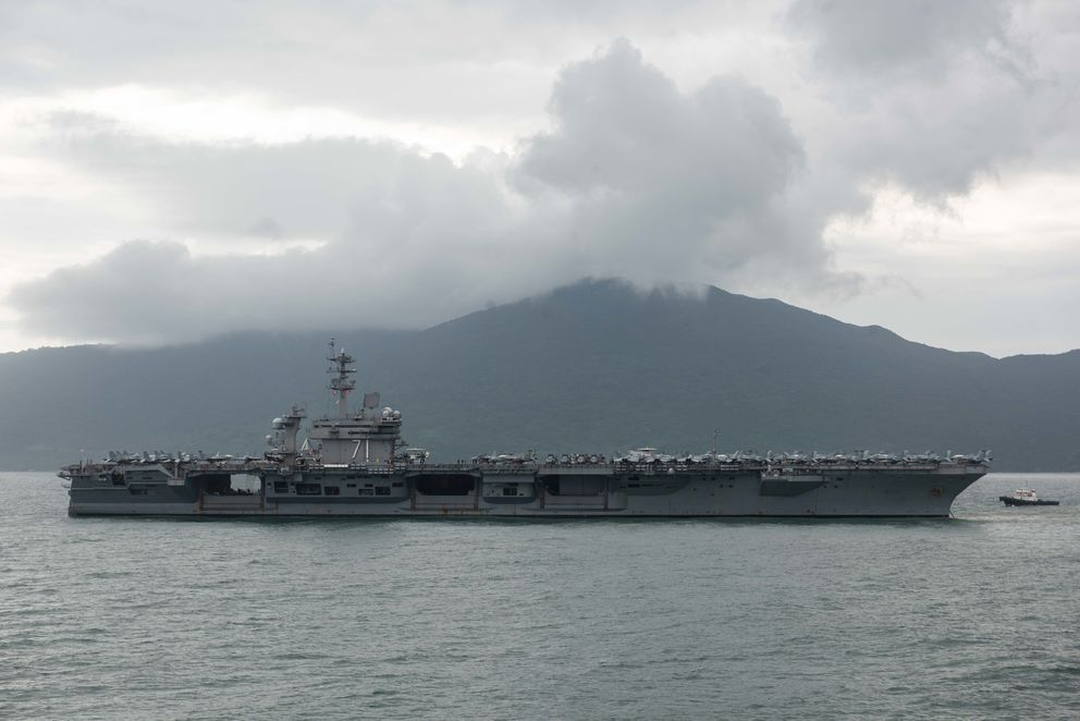 The USS Theodore Roosevelt arrives in Da Nang, Vietnam, on March 5. (Nicholas Huynh/U.S. Navy)