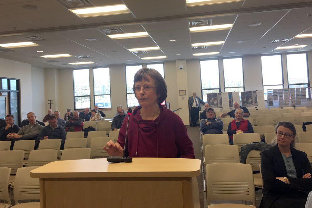 Donna Massay testifies how dangerous Oilwell Road is, even before the logging trucks are using it, at a Mat-Su Borough assembly meeting Tuesday, April 3, 2018. (Zaz Hollander / ADN)
